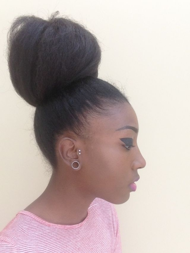 Gallery For High Bun Hairstyle With Weave